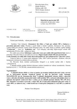 Průvodní dopis sport MŠ 1516K - Plavecká škola Zéva Hradec Králové