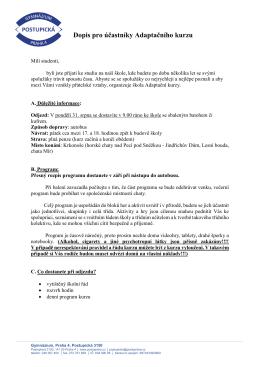 Dopis pro účastníky Adaptačního kurzu