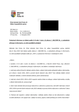 Úřad městské části Praha 10 Odbor hospodářské správy Váš dopis