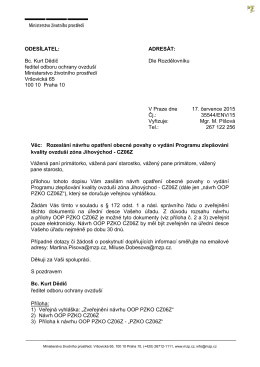 ODESÍLATEL: Bc. Kurt Dědič ředitel odboru ochrany ovzduší