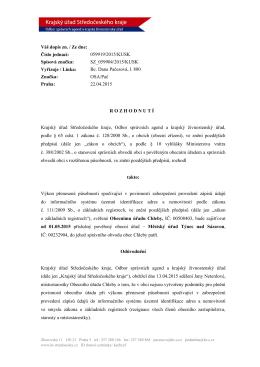 Váš dopis zn. / Ze dne: Číslo jednací: 059919/2015