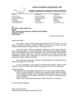 Profesionální dopis - Česká Neonatologická Společnost