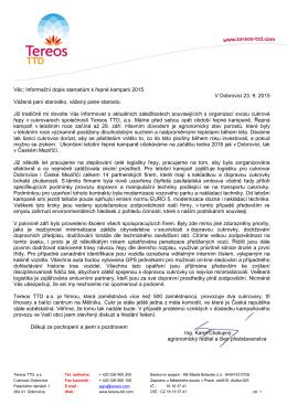 Informační dopis starostům k řepné kampani 2015