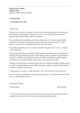Otevřený dopis Radě města Černošice - alej