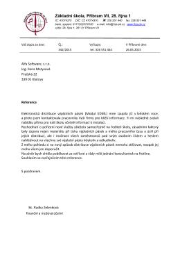Váš dopis ze dne : - Alfa Software sro