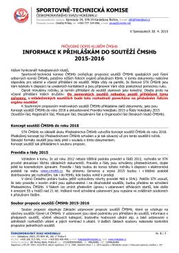 Průvodní dopis klubům ČMSHb - HBC Plzeň