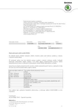 SKODA_Externi dopis - Český metrologický institut