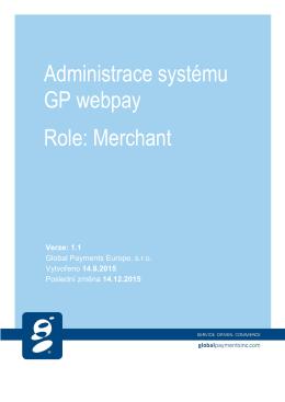 Administrace systému GP webpay