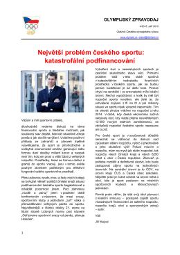 Největší problém českého sportu: katastrofální podfinancování