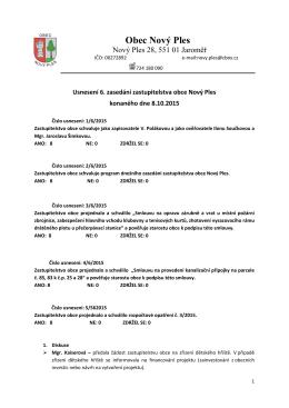 Usnesení z 6. zasedání zastupitelstva obce konaného