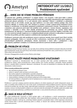 METODICKÝ LIST 11/2013 Problémové vyučování