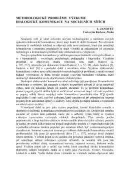 metodologické problémy výzkumu dialogické komunikace na