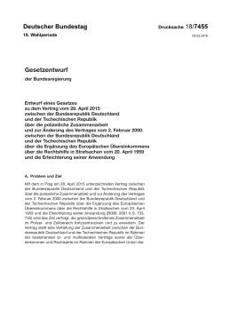 Entwurf eines Gesetzes zu dem Vertrag vom 28. April 2015