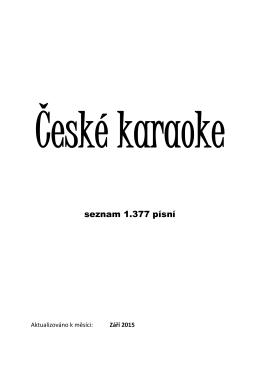 Seznam českých karaoke písní