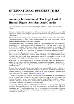 Amnesty International-The High Cost of Human Rights Activism And