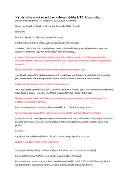 Výběr informací ze schůze výboru oddílu LTC Humpolec