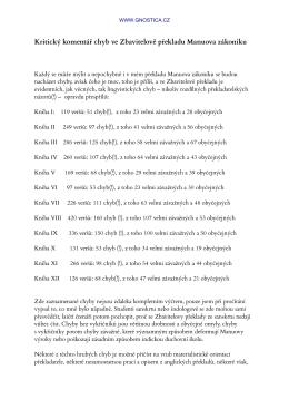 Kritický komentář chyb ve Zbavitelově překladu Manuova zákoníku