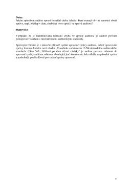 Formální chyby ve zprávě auditora
