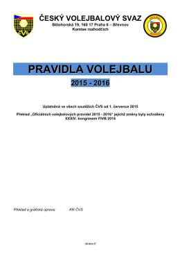 Pravidla volejbalu 2015 - 2016