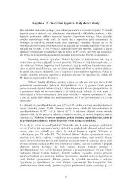 Kapitola 2 - Testování hypotéz. Testy dobré shody