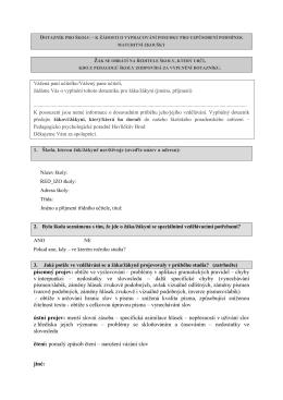 dotazník k maturitě - Pedagogicko psychologická poradna Havlíčkův