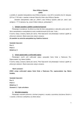 Obec Křížkový Újezdec ZÁPIS o průběhu 9. zasedání Zastupitelstva