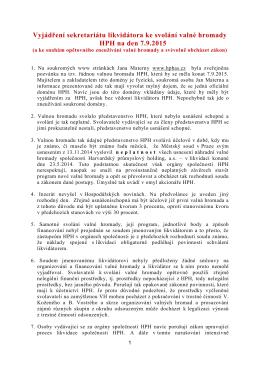 Vyjádření sekretariátu likvidátora ke svolání valné hromady HPH na