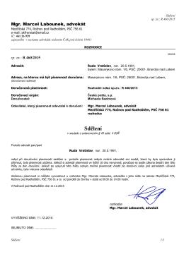 2015-12-11 Sdělení dle par. 49-4 OSR V.RudaR 460-2015