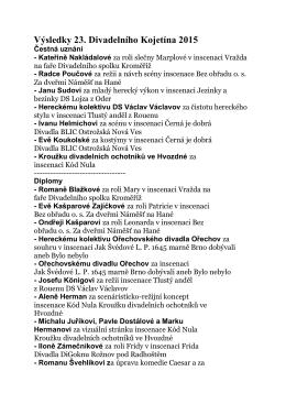 Výsledky 23. Divadelního Kojetína 2015 Čestná uznání
