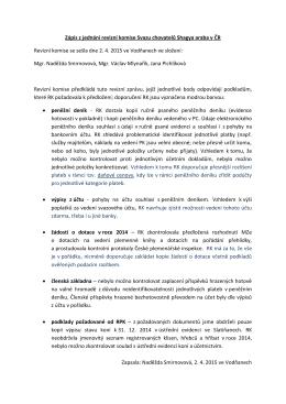 Zápis z jednání revizní komise Svazu chovatelů Shagya araba v ČR