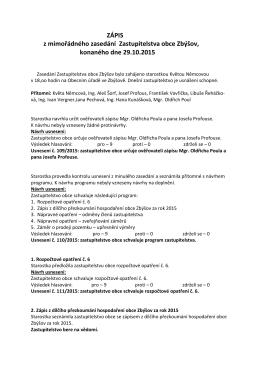 10 mimořádné zasedání OZ 29.10.2015