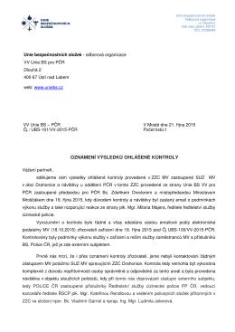 Výsledek kontroly v ZZC Drahonice (VV Unie BS
