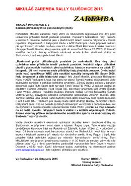 Tisková informace č. 2  - Mikuláš Zaremba Rally Slušovice 2015
