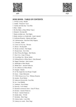 SONG BOOK - TABLE OF CONTENTS