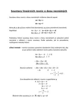 Soustavy lineárních rovnic o dvou neznámých