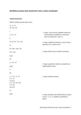9a) Řešení soustav dvou lineárních rovnic o dvou neznámých