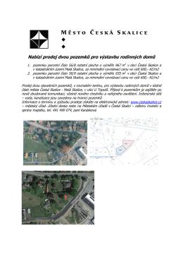 Nabízí prodej dvou pozemků pro výstavbu