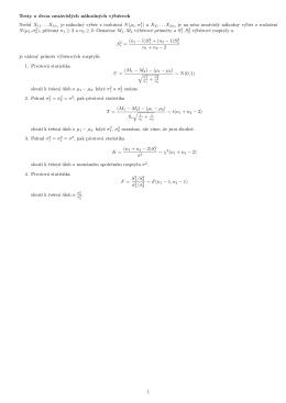 Testy o dvou nezávislých náhodných výberech Necht` X11 ...X1n1 je