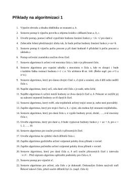 Příklady na algoritmizaci 1