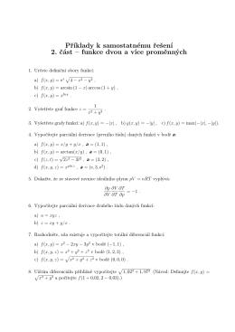 Příklady k samostatnému řešení 2. část – funkce dvou a více