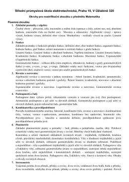 Matematika - SPŠE, V Úžlabině 320, Praha 10