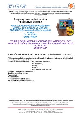 Programy dvou školení na téma PREDIKTIVNÍ ÚDRŽBA