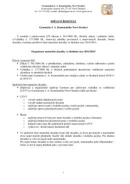 vyhlášení maturitních předmětů pro ško_rok 2014_2015