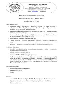 Vyhlášení výběrového řízení vedoucí úseku pater 2015