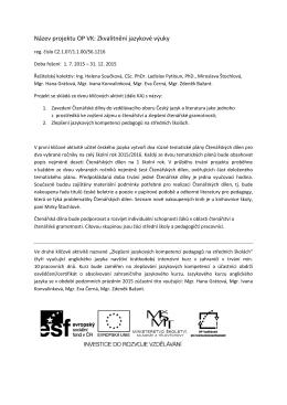 Název projektu OP VK: Zkvalitnění jazykové výuky
