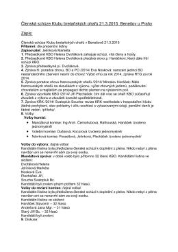 Členská schůze Klubu bretaňských ohařů 21.3.2015 Benešov u