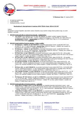 Český svaz ledního hokeje z. s. Olomoucký KVV ČSLH V Olomouci