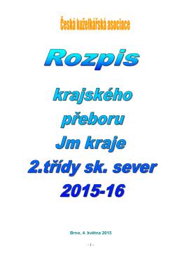 Rozpis KP2 sever 2015-16 - Jihomoravský krajský kuželkářský svaz