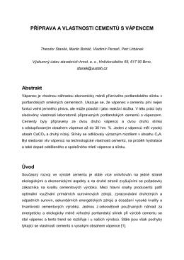 Sborník - Staněk - Příprava a vlastnosti cementů s vápencem