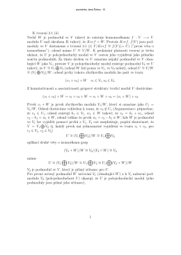 K tvrzenı 3.1 (ii) Necht` W je podmodul ve V takový ze existuje